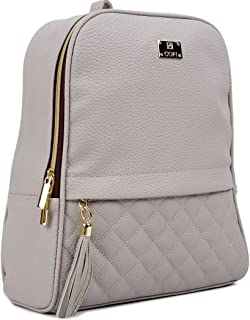 Women's Modern Design Casual Quilted Fashion small Backpacks Light Gray
