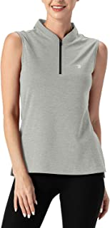 TBMPOY Women's UPF 50+ Golf Polo Shirts Sleeveless Zip Up Athletic Tank Tops Quick Dry