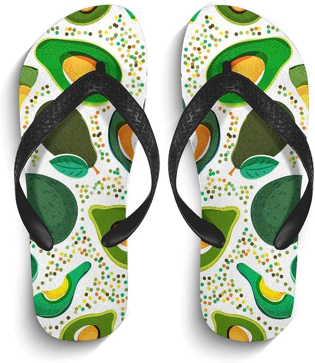 InterestPrint Men's Flip Flop Slippers Fresh Green Avocado Summer Beach Thong Sandal XL