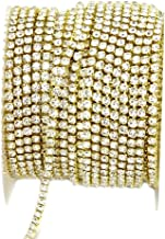 yueton 11 Yards 2MM Crystal Rhinestone Close Chain Trimming Claw Chain Jewelry Crafts DIY (Gold)