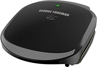 George Foreman 2-Serving Classic Plate Electric Grill and Panini Press, Black, GR136B