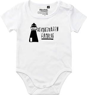 Kleckerliese Baby Body Vintage Sprüche Jungen Mädchen Kurzarm mit Motiv Heimathafen Familie Leuchtturm