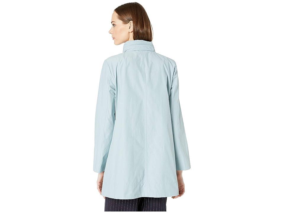 Eileen Fisher Stand Collar A-Line Long Jacket w/ Hidden Hood (Blue Ivy) Women's Coat