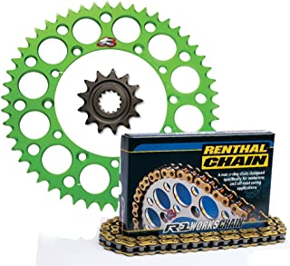 Renthal Front Sprocket Grooved 14T, Green Rear Sprocket Ultralight 50T, and Gold R1 Works 420 Chain 420 x 130 for Kawasaki KX80, KX85, KX100 Models 258--420-14GP|191U-420-50GEGN|C246