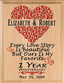Broad Bay Personalized Anniversary Sign Every Love Story is Beautiful Wedding Gift for Husband Wife Couple Men Women Him Her