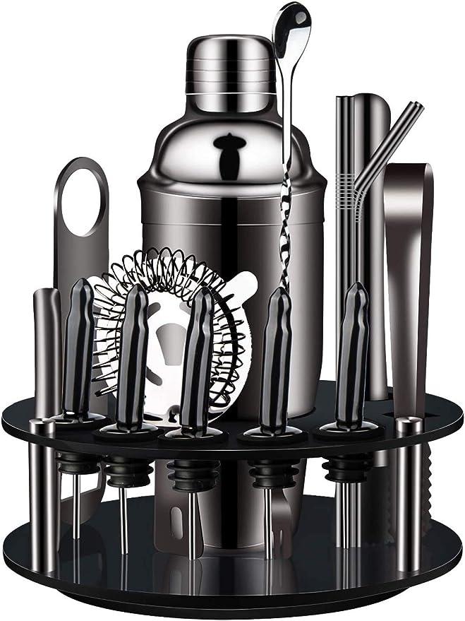 739 opinioni per X-cosrack Cocktail Shaker Set,18 Set Cocktail con Supporto Rotante Kit Utensili
