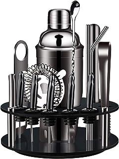 X-cosrack Shaker Cocktail,18 Pièce Kit de Cocktail Ensemble D'outils de Barre en Acier Inoxydable avec Support Rotatif Con...
