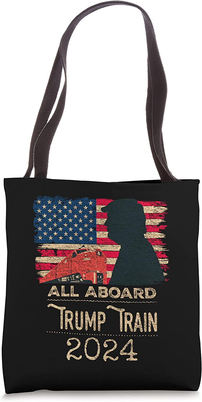 Trump Train 2024 Trump For President USA Flag Distressed Tote Bag