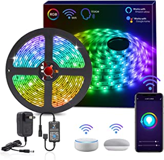 HitLights Smart WiFi LED Strip Lights, 16.4FT RGB 5050 LED Light Kit Working with Alexa, Google Home Phone APP Controlled for Christmas, Party, TV, Gaming Room, Home Theater, Dorm & DIY Decoration