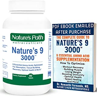 Nature's 9 3000 Essential Amino Acids Supplement, Best EAA Amino Acid Complex All 9 Essential Amino Acid Pills, Vegan Amin...