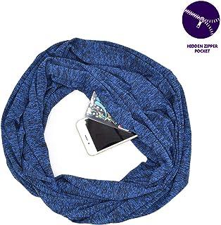 Infinity Scarf Travel Scarf with Pocket Hidden Zipper Pocket Scarf Lightweight Fashion Loop Shawl Wrap unisex designed