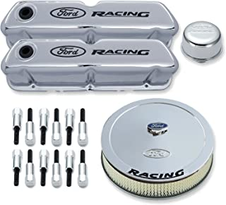 Proform 302-510 Chrome Engine Dress-Up Kit with Black Ford Racing Logo for Ford 289-351 Windsor
