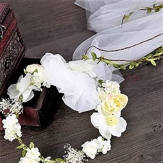 Bohemian Flowers Pearl Garland Bridal Wedding/Sweet Sixteen/Flower Girl/Quinceanera Crown Headdress (Light Yellow Flower Head Wreath White Veil Fabric Bridal Headpiece)