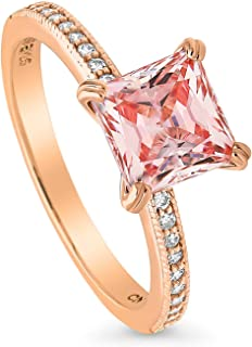 BERRICLE Rose Gold Plated Sterling Silver Solitaire Engagement Ring Made with Swarovski Zirconia Morganite Color Princess Cut 2.11 CTW