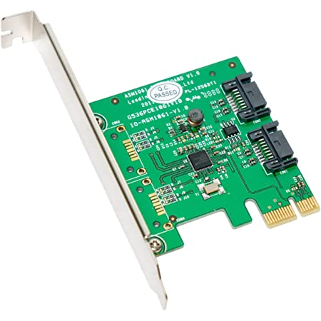 Sukvas 4 Ports SATA 6G PCI Express Controller Card PCI-e to SATA III 3.0 Converter with Heat Sink Expansion Adapter Board for PC IPFS Cable Length Black
