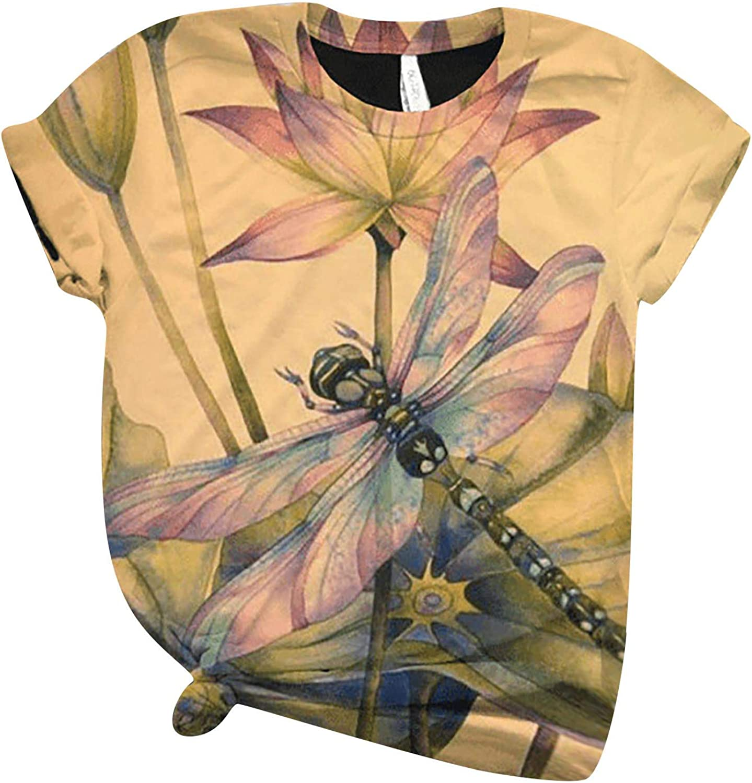 Navison T-Shirt, Women Tops Loose Flower Dragonfly Print Crewneck Short Sleeve Blouse