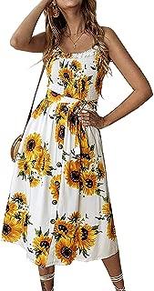 Womens Dresses Summer Beach Sunflower Floral Midi Sundresses Boho Spaghetti Strap Button Down Dress with Belt Pockets