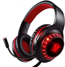 Best Pacrate Gaming Headset for PS4 Xbox One PC with Noise Cancelling Microphone Stereo Surround Sound Headphone with LED Light Intense Bass for Computer Laptop Mac (Black Red) Review