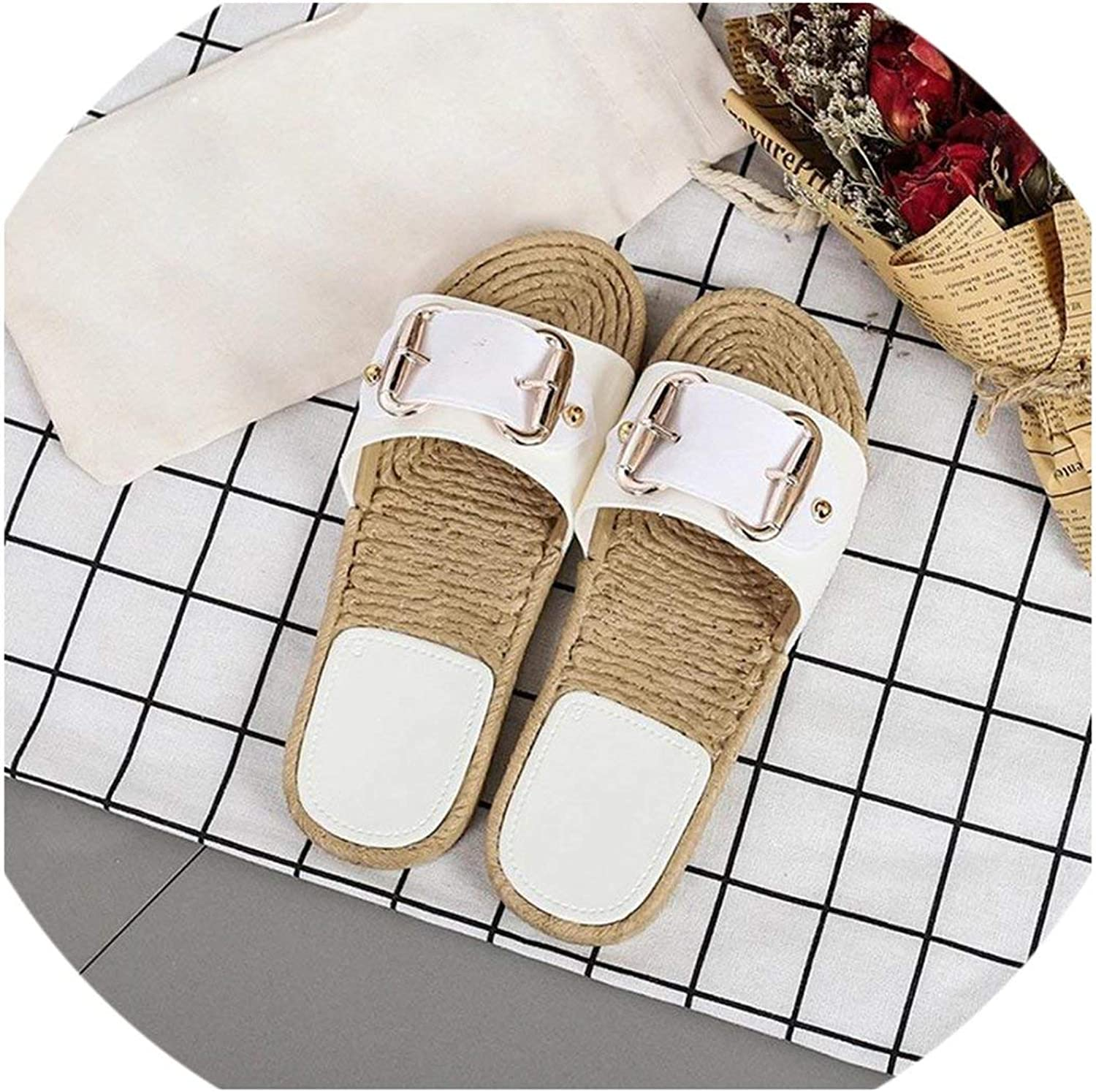 April With You Summer Women Flip Flop Non-Slip Flat Sandals Home Slippers Casual Straw shoes