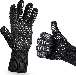 LATTCURE 耐熱グローブ バーベキューグローブ クッキンググローブ 耐熱 手袋 最高耐熱温度800℃ 滑り止め 左右兼用 着脱簡単 5本指グローブ 調理道具 bbq 電子レンジ オーブン 2枚セット
