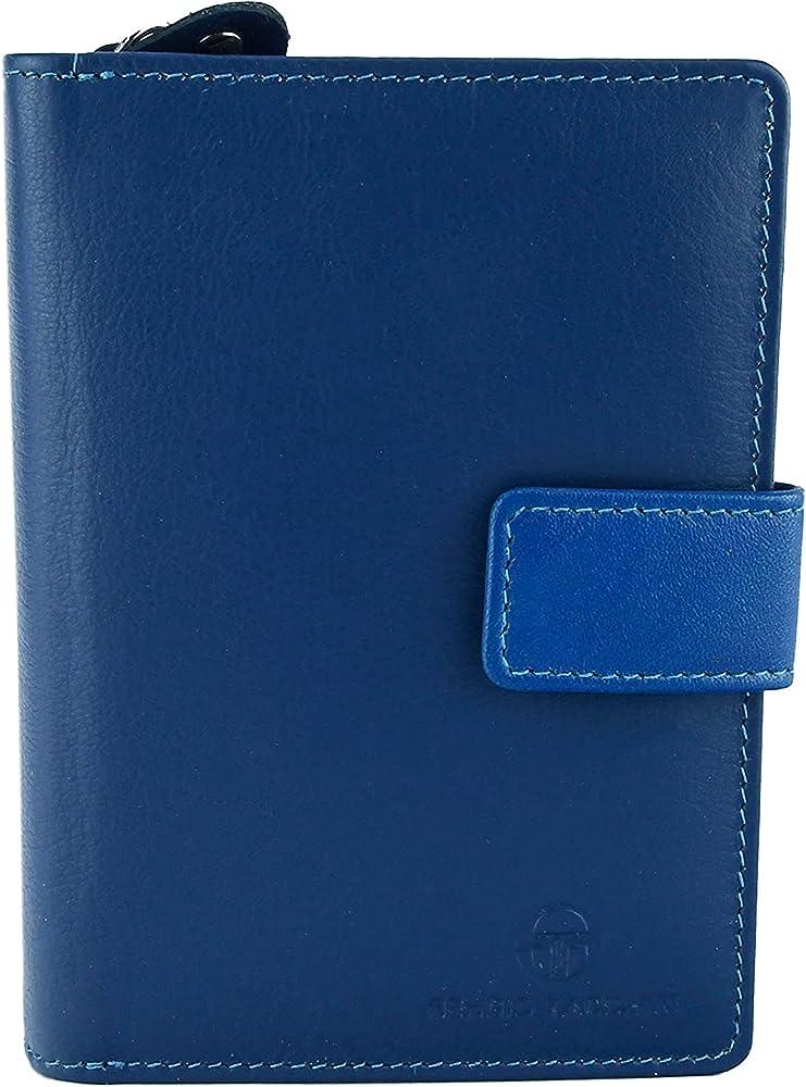Sergio tacchini portafoglio porta carte di credito per donna blu con interno multicolore