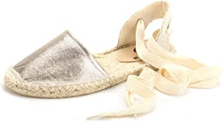 diig Espadrille Sandals for Women, Lace Up Closed Toe Espadrilles Silver Brown Navy Light/Rose Gold Tie Up Flat Shoes