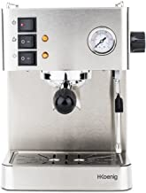 H.Koenig EXP530 Cafetera Expresso, 1450 W, 1.7 litros, Acero Inoxidable, Gris