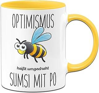 Tassenbrennerei Tassenbrennerei Bienen Tasse mit Spruch Optimismus heißt umgedreht Sumsi mit Po lustige Bürotasse Sprüche Tassen lustig - gelb
