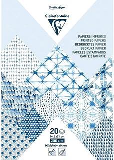Clairefontaine 95277C Bloc de 20 Feuilles à Motifs en Papier Cartonné 200g + Stickers Alphabet + Étiquettes à découper - F...