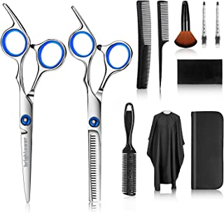 Hair Cutting Scissors Kits, brightower 11 Pcs Professional Hairdressing Set, Stainless Steel Hairdressing Shears Set for B...