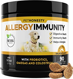 PetHonesty Allergy Relief Immunity Supplement for Dogs - Omega 3 Salmon Fish Oil, Colostrum, Digestive Prebiotics & Probio...