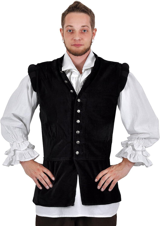 Giubba medievale da uomo in velluto - Con colletto e bottoni ornamentali - Nero - L