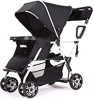 Double Stroller Convenience Urban Twin Carriage Stroller Tandem Collapsible Stroller All Terrain Double Pushchair for Toddler Girls and Boys Stable Stroller Frame with Bag Organizer (Oxford Black)