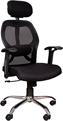 Rajpura Matrix High Back Revolving Chair With Headrest And Centre Tilt Mechanism In Black Fabric And Mesh/Net Back Office Executive Chair