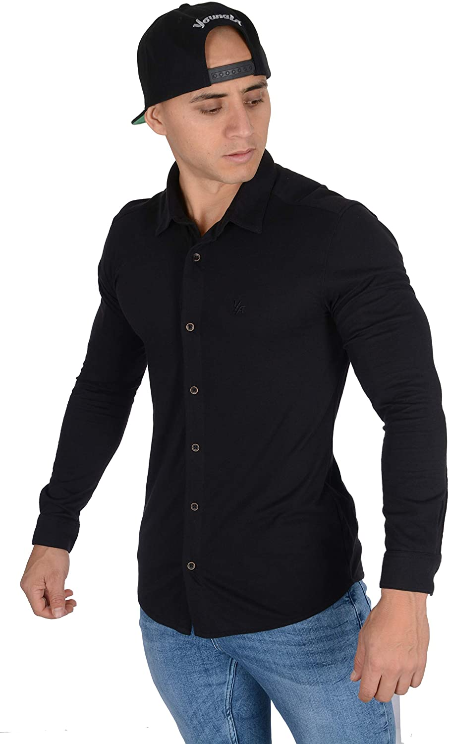 YoungLA Men's Slim FIt Dress Shirts | Button Up Long Sleeves | Athletic Fitted | Formal Long Sleeves for Work and Casual 415