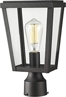 Emliviar Modern Outdoor Post Lamp, 1-Light Exterior Post Lighting in Black Finish with Clear Glass, 1803AW2-P