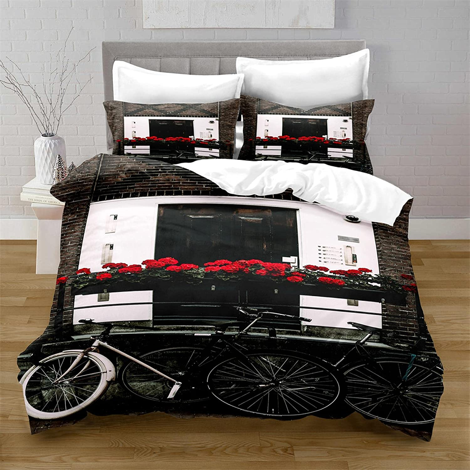 HQHM Duvet Cover King 3 Pieces Bicycle Street White Under blast sales And Limited time cheap sale Black Fl