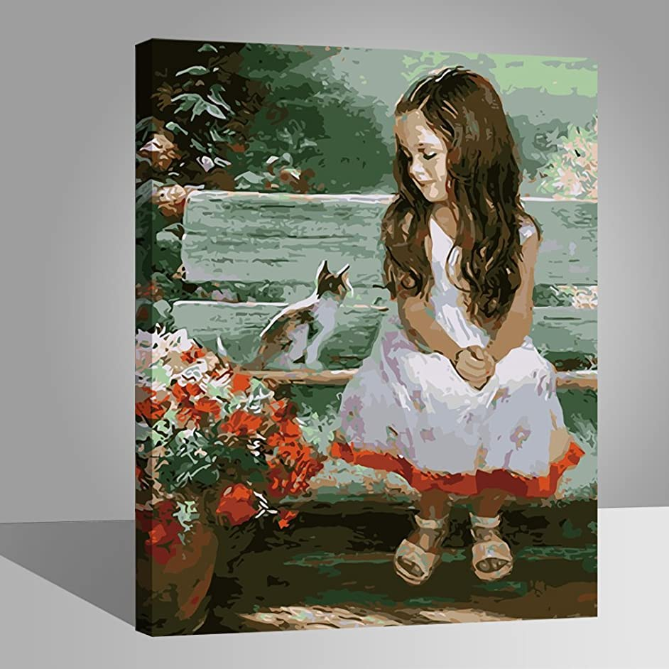 LIUDAO Oil Painting - Paint by Number Kits for Adults Beginner Include Acrylic Paint and Brushes - Cat and Girl 16x20 Inch (Wooden Frame)
