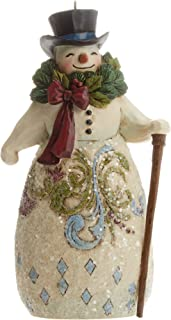 Jim Shore Heartwood Creek Victorian Snowman with Wreath Stone Resin Hanging Ornament, 5""