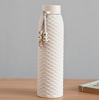 JMAHM Botella de Agua Deportes de Cristal con Funda de Silicona Antideslizante de Doble Capa para Yoga y Deporte, Batidos, Fitness, Deportes, Vida