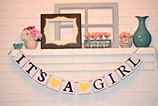Its a Girl Chipboard Baby Shower Banner, Customizable It's a Girl Chipboard Banner, Baby Shower Decorations, Yellow