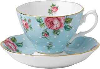 Royal Albert 8705026135 Formal Vintage Teacup and Saucer Boxed Set, Polka Blue