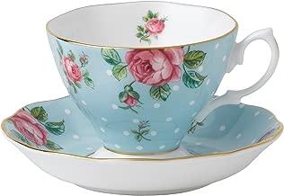 Royal Albert 8705026135 Formal Vintage Teacup and Saucer Boxed Set, Polka Blue
