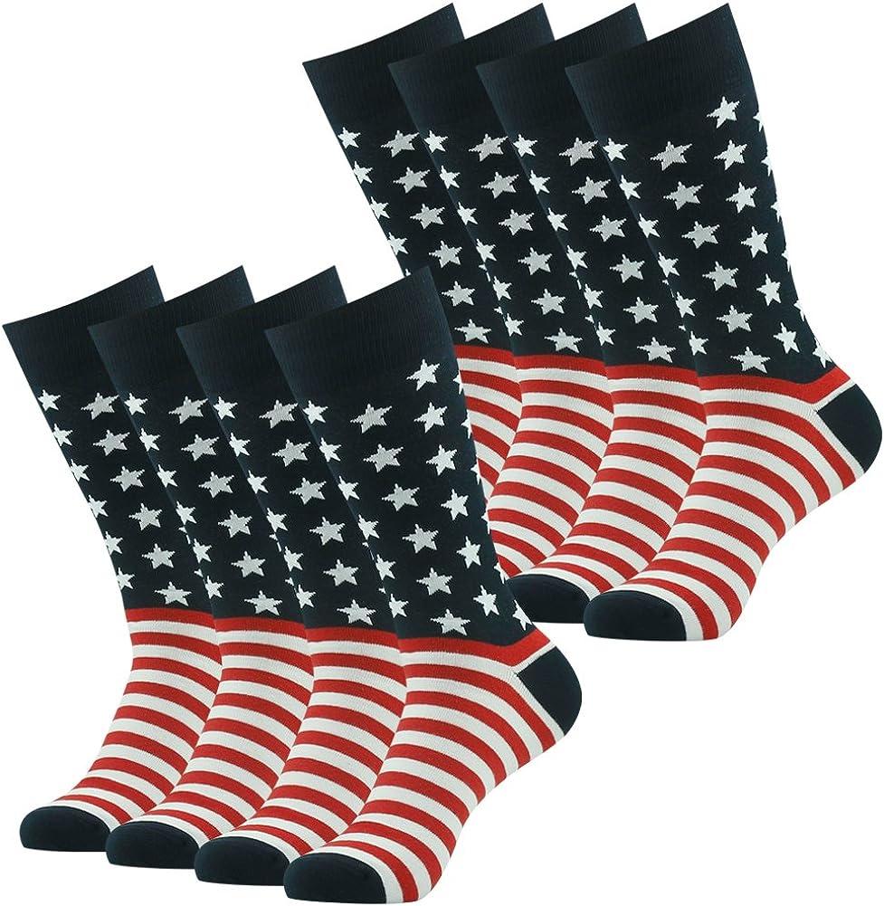 American Flag Dress Socks for Men Women Patriotic USA Flag Stars and Stripes Freedom High Socks, 2/8/12 Pairs