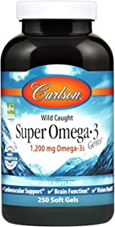 Carlson - Super Omega-3 Gems, 1200 mg Omega-3s, Wild Caught, Sustainably Sourced, 250 soft gels