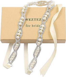 WEZTEZ حزام زفاف من الكريستال الرقيق حزام الزفاف الفضي وشاح العروسة مع أحجار الراين اللؤلؤ للنساء اكسسوارات اللباس