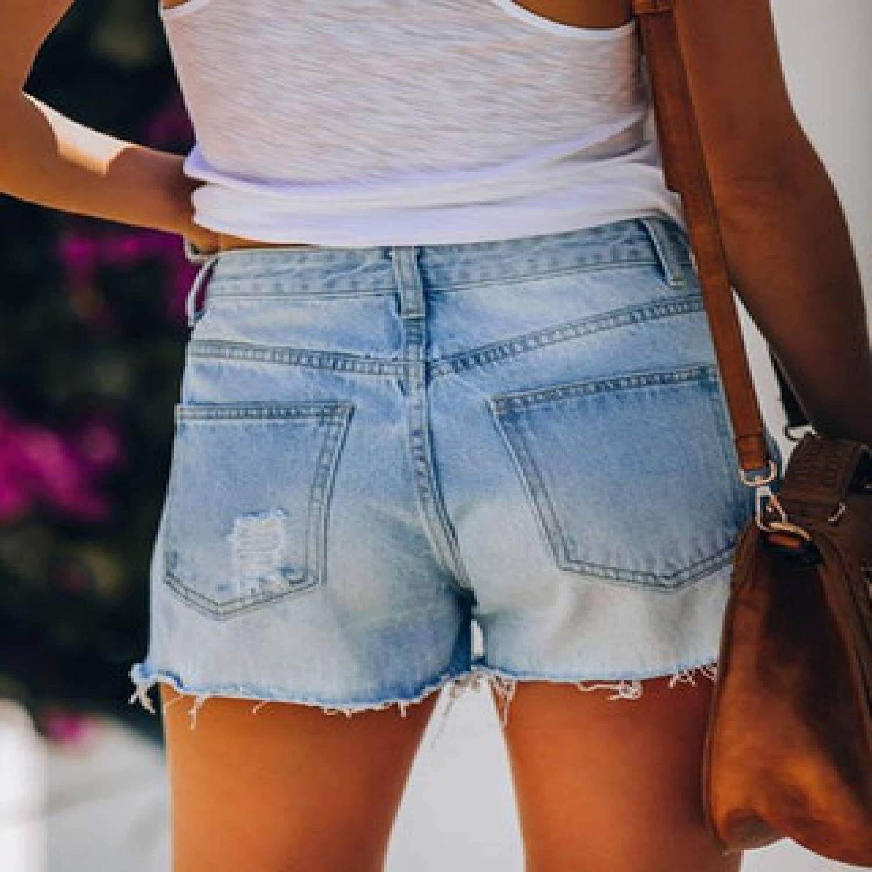 Women's Ripped Printed Denim Shorts Fashion Mid-Waist Streetwear Washed Casual