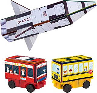 PicassoTiles Magnet Building Blocks STEM Learning Construction Toy Set Early Education Kit 3-in-1 Rocket, School Bus, Trai...