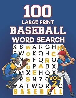 100 Large Print Baseball Word Search: Baseball Large Print Word Search Books | Brain Games Themed Baseball | Activity And ...