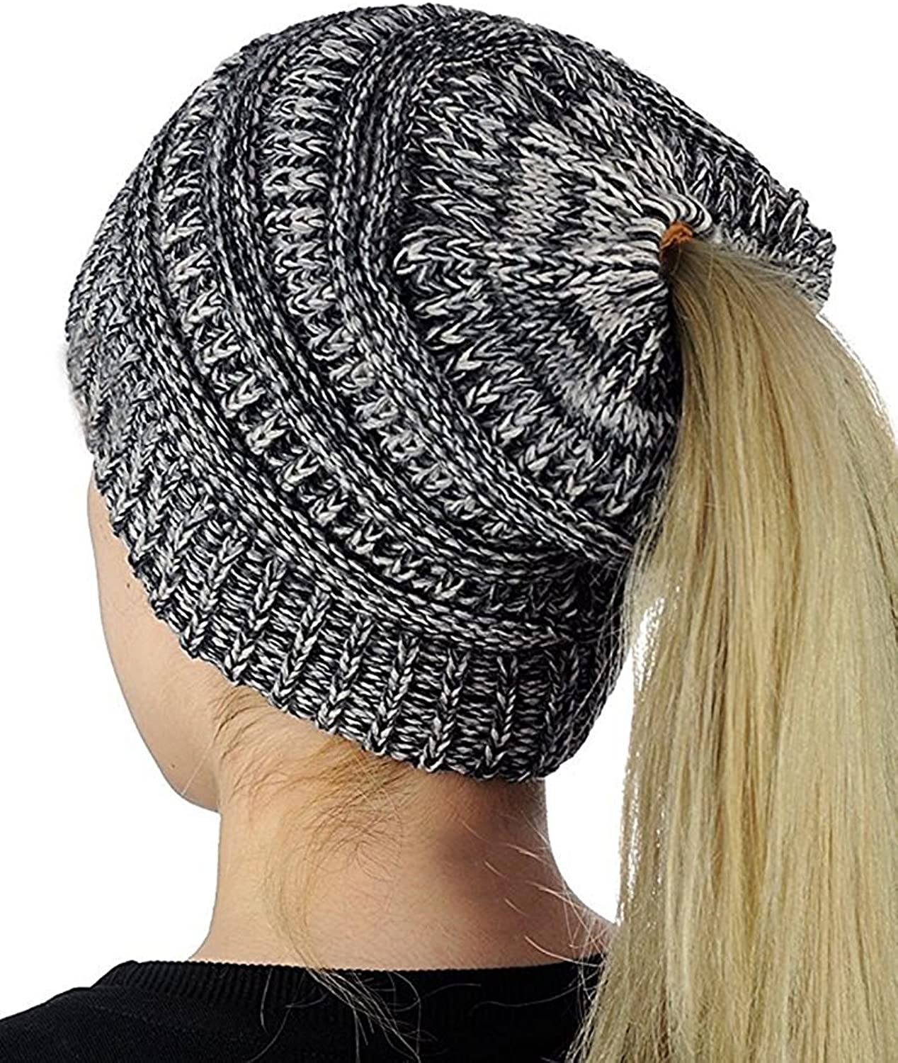 Faisean Womens Slouchy Beanie Knit Winter Messy Bun Hats Chunky Cable Knit Ponytail Caps